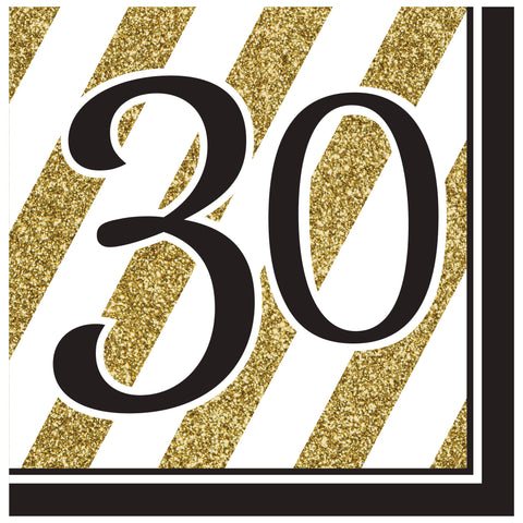Black & Gold 30th Lunch Napkins/Case of 192
