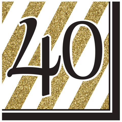 Black & Gold 40th Lunch Napkins/Case of 192