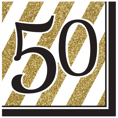 Black & Gold 50th Lunch Napkins/Case of 192