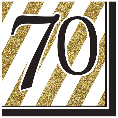 Black & Gold 70th Lunch Napkins/Case of 192