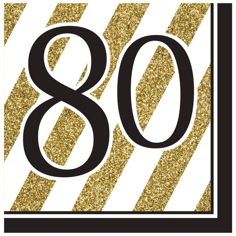 Black & Gold 80th Lunch Napkins/Case of 192