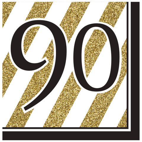 Black & Gold 90th Lunch Napkins/Case of 192
