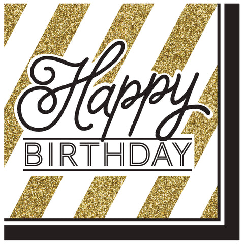 Black & Gold Happy Birthday Lunch Napkins/Case of 192