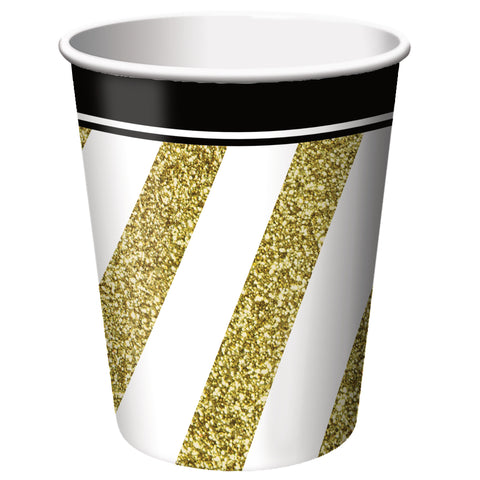 Black & Gold 9 oz Hot/Cold Cups/Case of 96