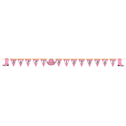 Pink Bandana Cowgirl Pennant Banner with Twine/Case of 12
