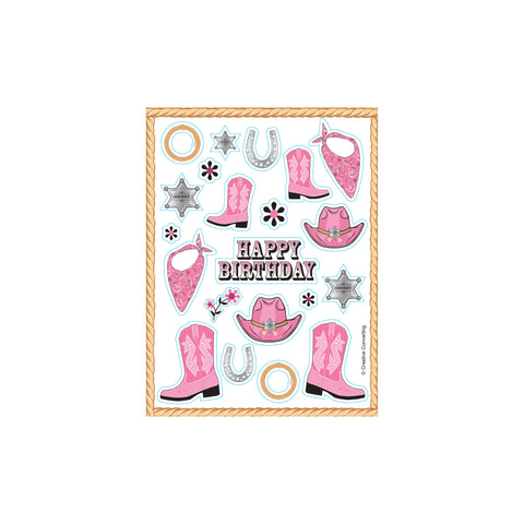 Pink Bandana Cowgirl Value Stickers/Case of 48