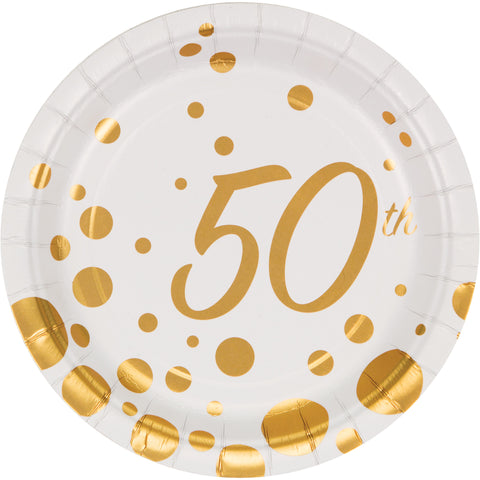 Sparkle and Shine Gold 7 Inch 50th Anniversary Foil Lunch Plate/Case of 96