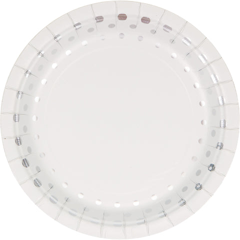 Sparkle and Shine Silver 7 Inch Foil Lunch Plate/Case of 96