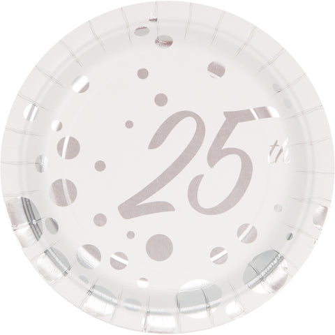 Sparkle and Shine Silver 7 Inch 25th Anniversary Foil Lunch Plate/Case of 96