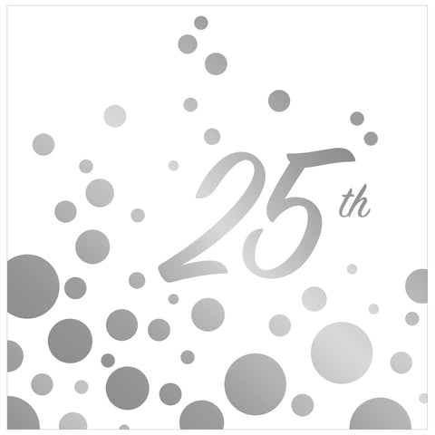 Sparkle and Shine Silver 25th Anniversary Lunch Napkins/Case of 192