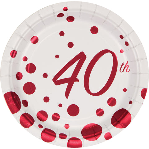 Sparkle and Shine Ruby 7 Inch 40th Anniversary Foil Lunch Plate/Case of 96