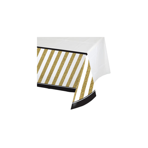 Black & Gold 54 x 102 Inch Border Print Plastic Tablecover/Case of 6