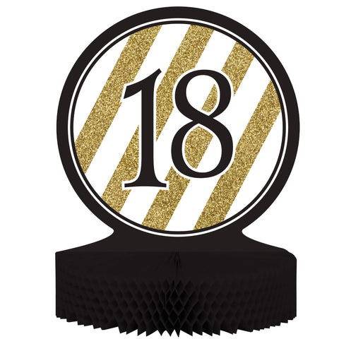 Black & Gold 18th Birthday Honeycomb Centerpiece/Case of 6
