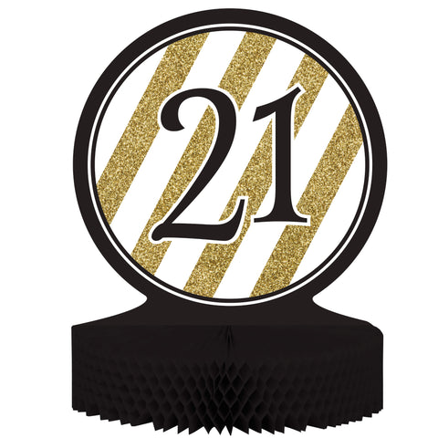 Black & Gold 21th Birthday Honeycomb Centerpiece/Case of 6