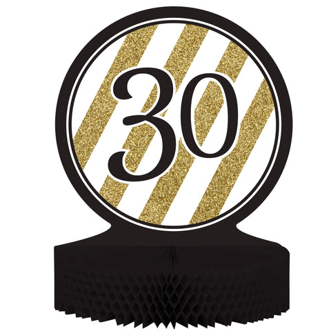 Black & Gold 30th Birthday Honeycomb Centerpiece/Case of 6