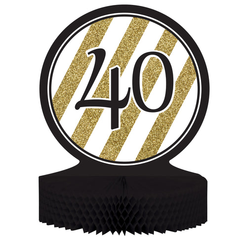 Black & Gold 40th Birthday Honeycomb Centerpiece/Case of 6