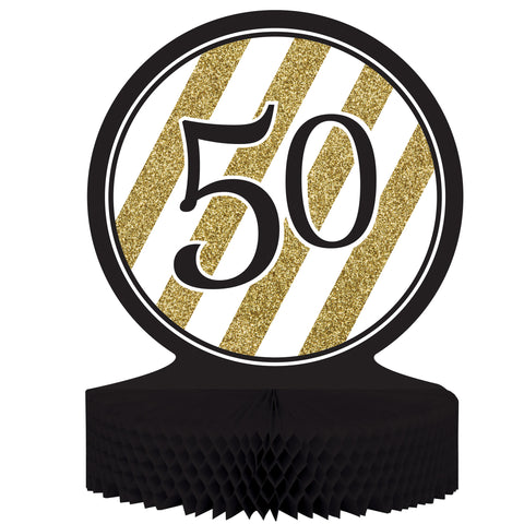 Black & Gold 50th Birthday Honeycomb Centerpiece/Case of 6