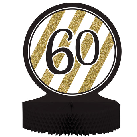 Black & Gold 60th Birthday Honeycomb Centerpiece/Case of 6