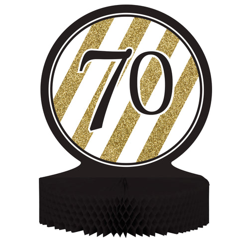 Black & Gold 70th Birthday Honeycomb Centerpiece/Case of 6