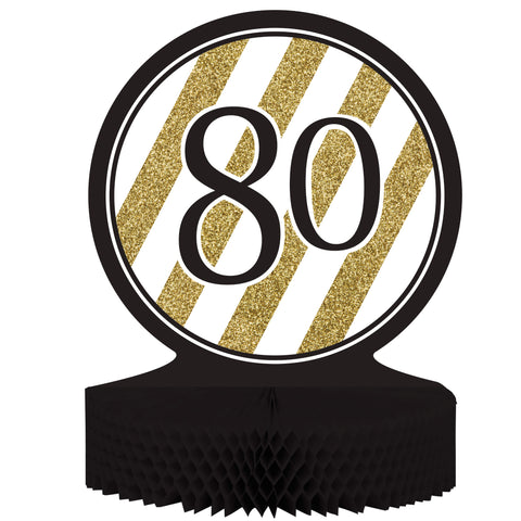 Black & Gold 80th Birthday Honeycomb Centerpiece/Case of 6