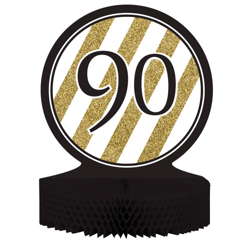 Black & Gold 90th Birthday Honeycomb Centerpiece/Case of 6