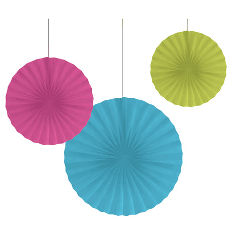 Glow Party 10 /12/16 Inch Paper Fans/Case of 18