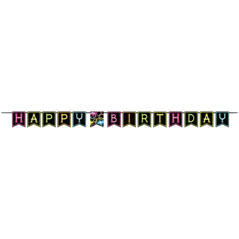 Glow Party Ribbon Shaped Banner/Case of 6