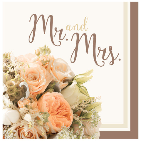 Rose Gold Bouquet Mr. & Mrs. Lunch Napkins/Case of 192