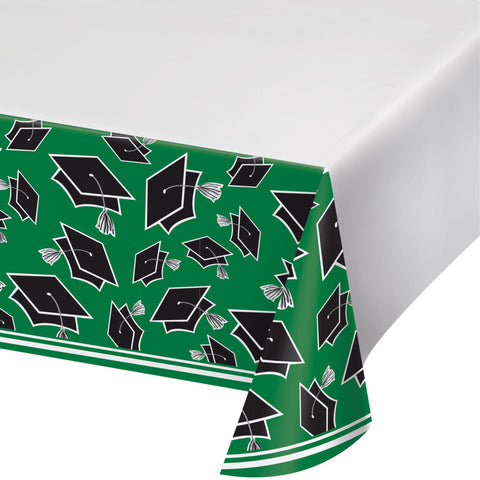 "School Spirit Green 54"" x 102"" Plastic Tablecover/Case of 12"