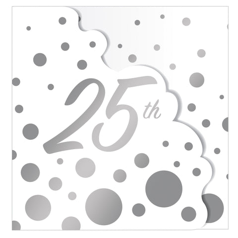 "Sparkle and Shine Silver 4"" x 6"" 25th Anniversary Invitation/Case of 48"