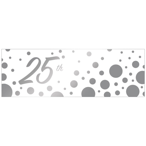 "Sparkle and Shine Silver 20"" x 60"" 25th Anniversary Giant Party Banner/Case of 6"