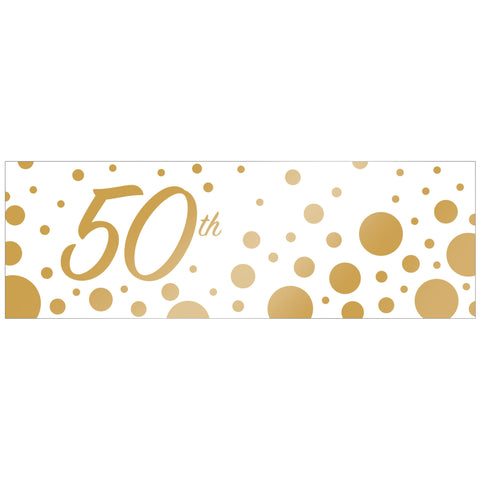 "Sparkle and Shine Gold 20"" x 60"" 50th Anniversary Giant Party Banner/Case of 6"