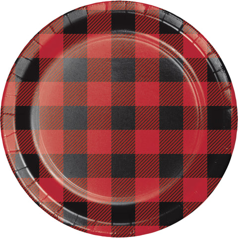 "Buffalo Plaid 7"" Round Luncheon Plate/Case of 96"