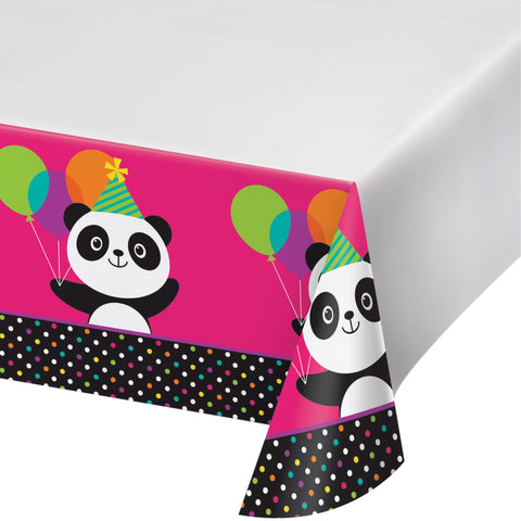 "Panda-monium 54"" x 102"" Plastic Tablecover Border Print/Case of 6"