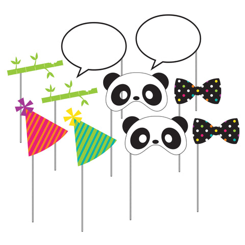 "Panda-monium Photo Booth Props w/10"" Stick/Case of 60"