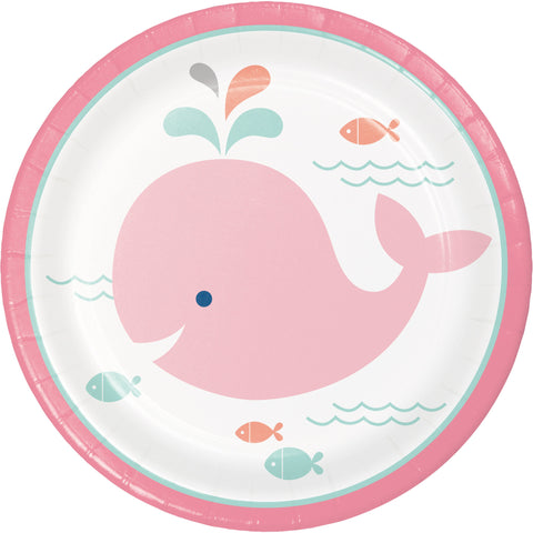"Lil' Spout Pink 7"" Round Paper Luncheon Plate/Case of 96"