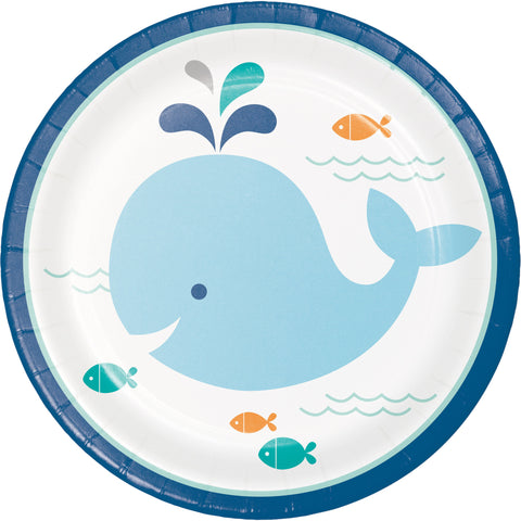 "Lil' Spout Blue 7"" Round Paper Luncheon Plate/Case of 96"