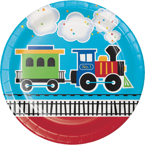 "All Aboard 8 3/4"" Round Paper Dinner Plate/Case of 96"