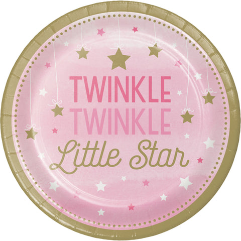 "One Little Star Girl 8 3/4"" Round Paper Dinner Plate/Case of 96"