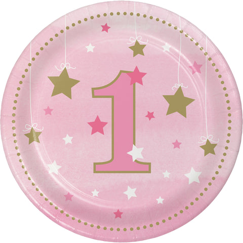 "One Little Star Girl 1st Birthday 7"" Round Paper Luncheon Plate/Case of 96"