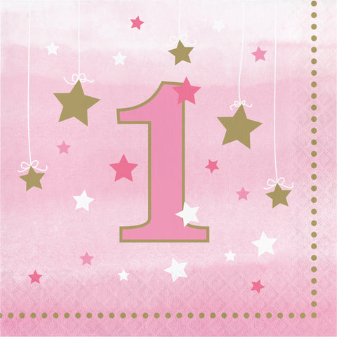 One Little Star Girl 1st Birthday Luncheon Napkin/Case of 192