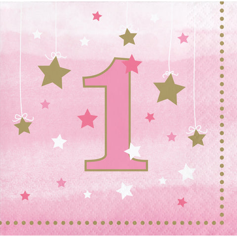 One Little Star Girl 1st Birthday Beverage Napkin/Case of 192