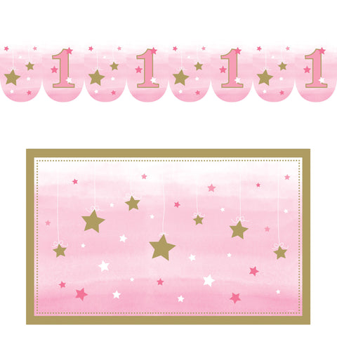 "One Little Star Girl High Chair Kit, Banner : 3 1/2"" x 26"", Floor Mat : 30"" x 48""/Case of 6"