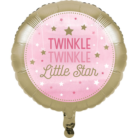 "One Little Star Girl 18"" Metallic Balloon/Case of 10"