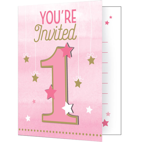 One Little Star Girl 5 x 4 Invitation w/Attachment/Case of 48