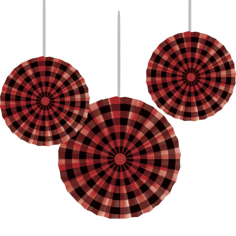 "Buffalo Plaid 16"", 12"" & 10"" Paper Fans/Case of 18"