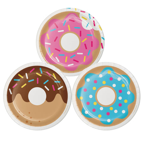 "Donut Time 7"" Round 3 Designs Assorted Luncheon Plate/Case of 96"