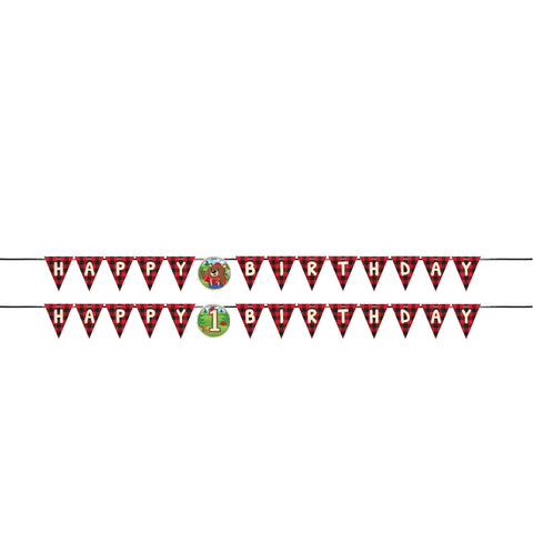 Lum-Bear-Jack 6 x 9 1/2 Ribbon Banner Shaped w/1st Birthday Attachment/Case of 6
