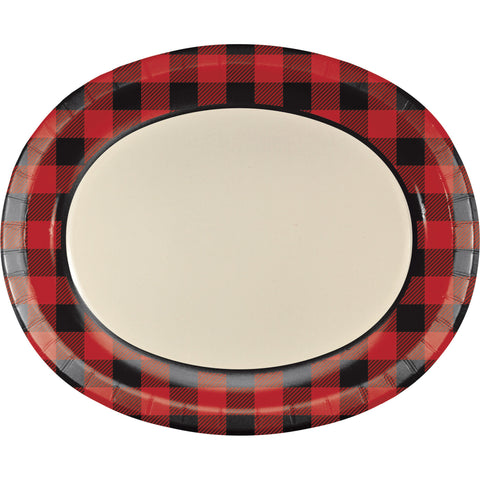 "Buffalo Plaid 10"" x 12"" Oval Platters/Case of 96"