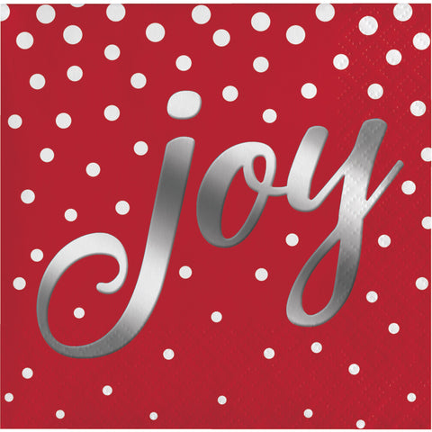 Holiday Sparkle & Shine Red Joy Beverage Napkin/Case of 192